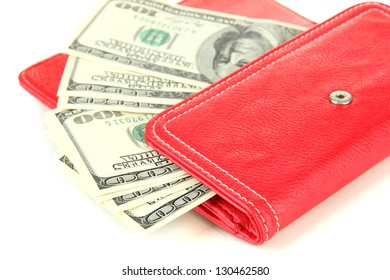 Purse with hundred dollar banknotes, isolated on white