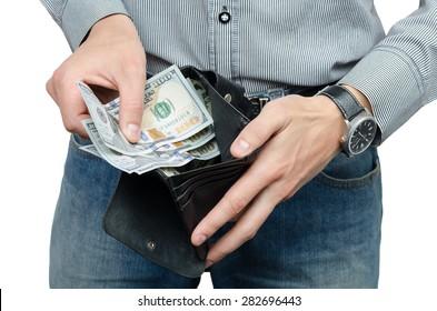 purse money in male hands