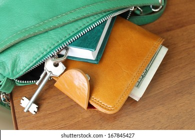 Purse with money. Women's accessories. Things from open bag