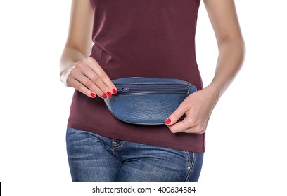 Purse for money for the women's waist. On a white background.