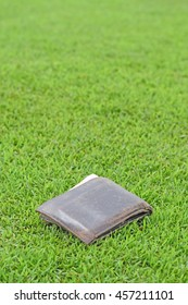 purse on the field with money. Lost wallet