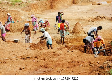 purulia , west bengal , india ,people are in work for a government project called mgnregs