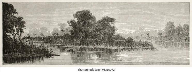 Purus river old view (Camara and Aru channels), near confluence with Amazon river, Brazil. Created by Riou, published on Le Tour du Monde, Paris, 1867