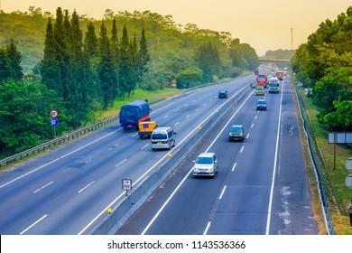 Purwakarta, West Java / Indonesia - July 22, 2018: Scenic View of Cipularang Bandung Jakarta Toll Road