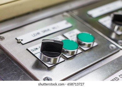 push button and display on control panel with electric light devices,selective focus