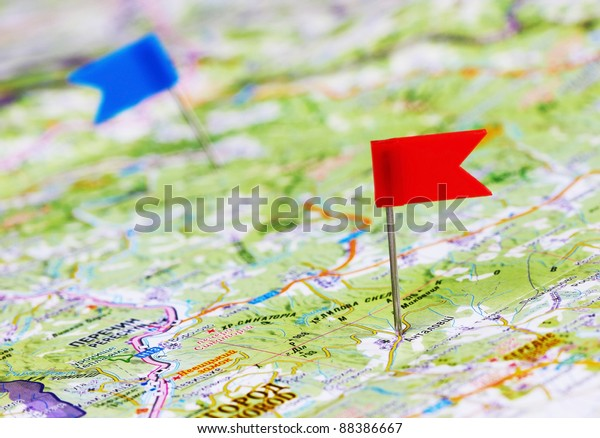 Push pin in a map, close up