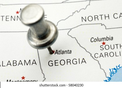 Push Pin on Atlanta, Georgia. Map is copyright free off a government website.