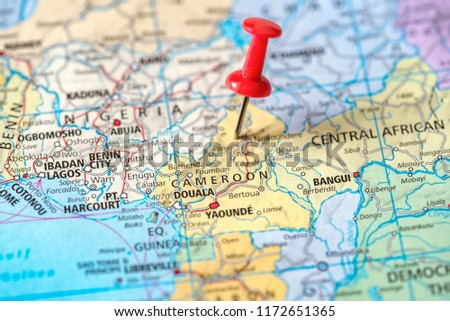 Push Pin On Territory Cameroon On Stock Photo (Edit Now) 1172651365 ...