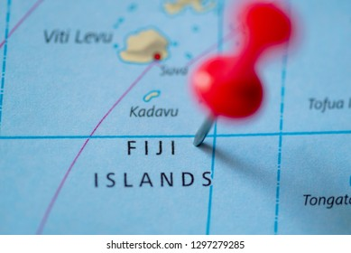 Push pin on the territory of Fiji Islands on the world map