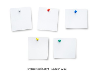 Push Pin or paper pin on white background. card or note paper with colorful push pin isolated on white background