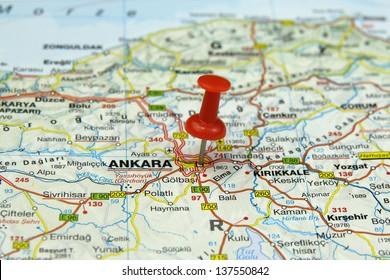 push pin pointing at Ankara, Turkey