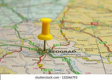 push pin pointing at Belgrade, Serbia