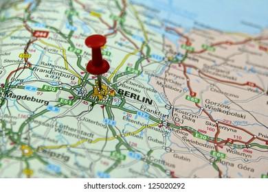 Push pin pointing at Berlin, Germany