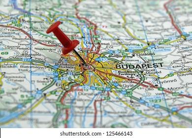 push pin pointing at Budapest, Hungary
