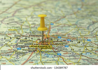 push pin pointing at Johannesburg, South Africa
