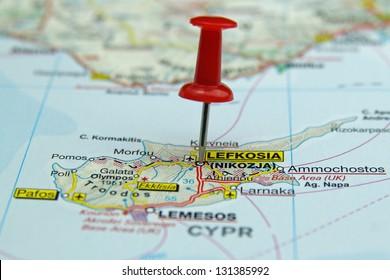push pin pointing at Nicosia, Cyprus