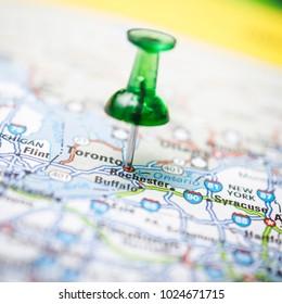 Push pin and a road map macro