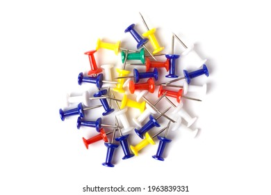 Push pins isolated on white background. Colourful push-pin thumbtack tools office on white background.
