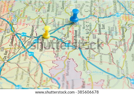 push pins on map south africa stock photo edit now 385606678