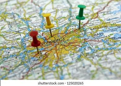 push pins on a tourist map- London, England
