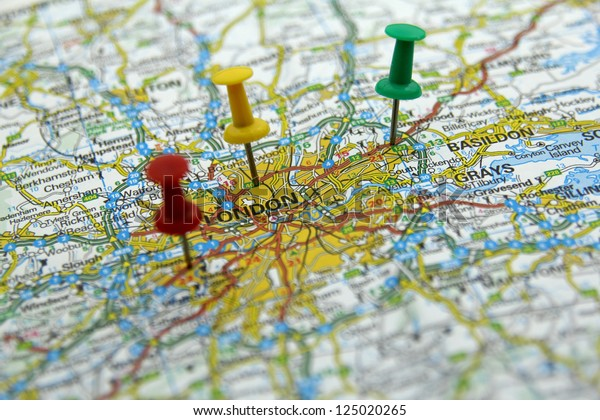 Push Pins On Tourist Map London Stock Photo (Edit Now) 125020265