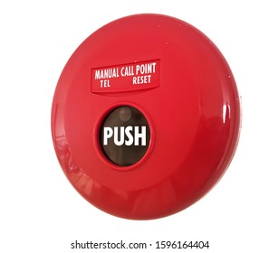 Push-button manual fire alarm activation device (manual call point) on white background ,is fire alarm system for detecting ,warning people through visual ,audio appliances when smoke,fire are present