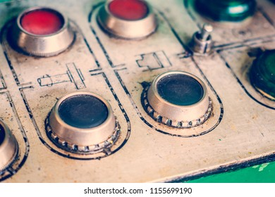 Pushbutton mechanical control panel of the machine