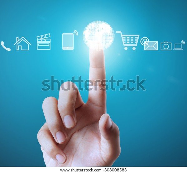 pushing a button on a touch screen interface