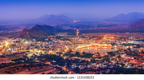 Pushkar Holy City in anticipation of the night, Rajasthan, India, Asia