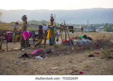 Pushkar / India 27 October 2017  Family of Bopa Gypsy nomadic people at Pushkar Camel Fair in Rajasthan India