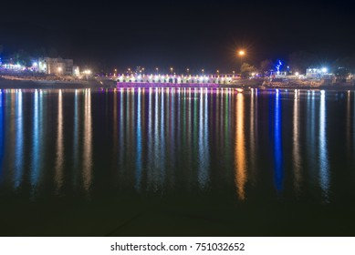 Pushkar / India 27 October 2017  Night scene of the ghat Colourful Light Reflection on the Water Surface at Pushkar city Rajasthan India