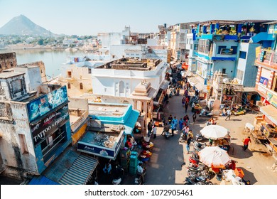 Pushkar, India - December 8, 2017 : Pushkar lake and old market street