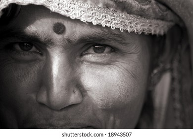 Pushkar, India - May 2008. Portrait of Rajasthani woman in local dress during local festivities.