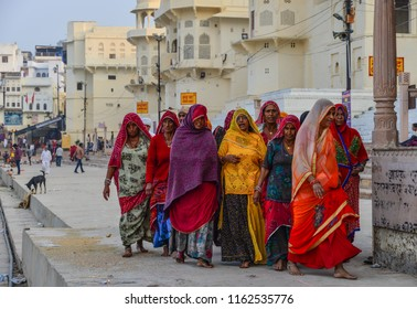 Pushkar, India - Nov 5, 2017. Indian women at holy site in Pushkar, India. Pushkar is a pilgrimage site for Hindus and Sikhs, located in State of Rajasthan.