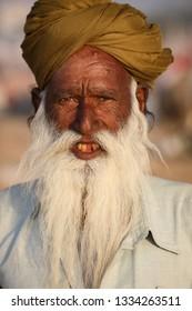 PUSHKAR, INDIA - NOVEMBER 11, 2018: Unidentified Rabari tribal man at the Pushkar Camel Fair, Rajasthan. The fair is the largest camel fair in India.