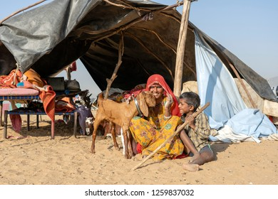 PUSHKAR, INDIA - NOVEMBER 13, 2018 : Indian family lives in a hut in the desert on time Pushkar Camel Mela near holy city Pushkar, Rajasthan, India