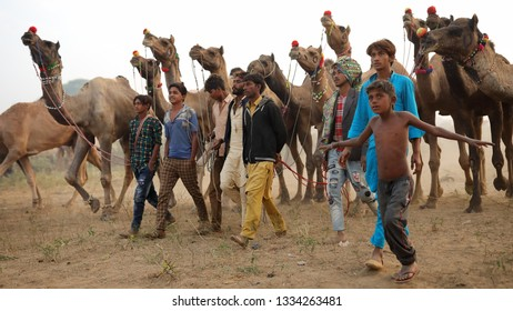 PUSHKAR, INDIA - NOVEMBER 15, 2018: Unidentified a group of Gypsy herders at the Pushkar Camel Fair, Rajasthan. The fair is the largest camel fair in India.
