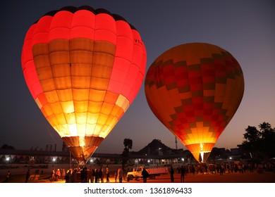 PUSHKAR, INDIA - NOVEMBER 18, 2018: Hot air balloons at the Mela Ground of the Camel Fair in Pushkar, Rajasthan India. The fair is the largest camel fair in India.