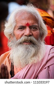 PUSHKAR, INDIA - NOVEMBER 19: Unidentified holy man attends the Pushkar fair on November 19, 2010 in Pushkar, Rajasthan, India. Pilgrims and camel traders flock to the holy town for the annual fair.