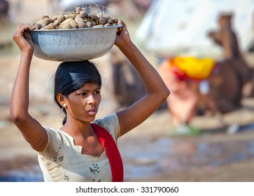 PUSHKAR, INDIA - NOVEMBER 20, 2012: Young Indian woman carrying a basin on her head of camel dung collected for use as fuel at the annual camel fair in Pushkar, Rajasthan, India.