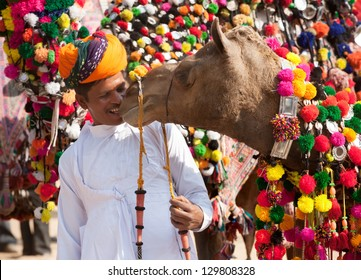PUSHKAR, INDIA - NOVEMBER 22: Camel and his unidentified owner attends at traditional camel decoration competition at camel mela in Pushkar on November 22,2012 in Pushkar, Rajasthan, India
