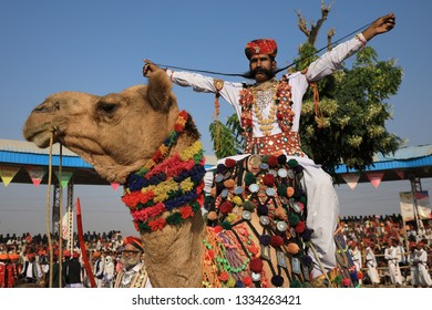 PUSHKAR, INDIA - NOVEMBER 23, 2018: Unidentified winner of the beard contest at the Pushkar Camel Fair, Rajasthan. The fair is the largest camel fair in India.