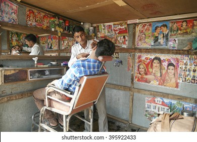 Pushkar, India:November 23, 2015: The barber shop in the street of Pushkar, India.