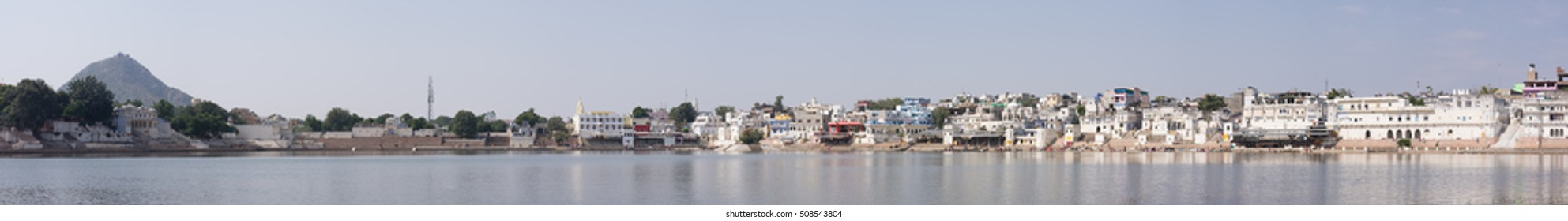 Pushkar lake panoramic view, Rajasthan, India.