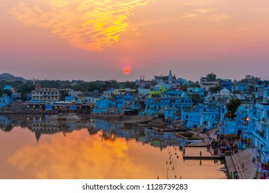 Pushkar Lake or Sarovar is located in the town of Pushkar in Ajmer district of the Rajasthan state of western India. Pushkar Lake is a sacred lake of the Hindus