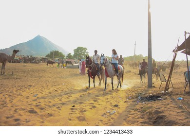 Pushkar, Rajasthan, India - 04 November 2014: Tourist enjoying horse ride in Pushkar desert at the time of pushkar cattle fair.