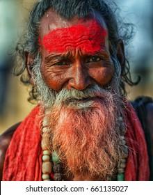 PUSHKAR, RAJASTHAN, INDIA - CIRCA NOV 2012: The portrait of Sadhu man. Close up shot