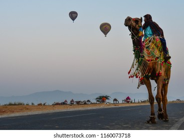 Pushkar , Rajasthan/India - 10/25/2017 - World's largest camel festival at pushkar in Rajasthan. Camel traders selling their camels in the fair.