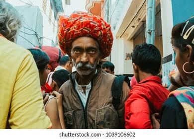Pushkar, Rajasthan/India-November/Wednesday/2017: Portrait of an old man taken during the annual Pushkar fair.
