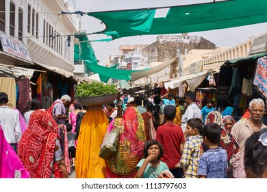 Pushkar, Rajsthan / India - 06 10 2018: Busy street during a hot day in Pushkar
